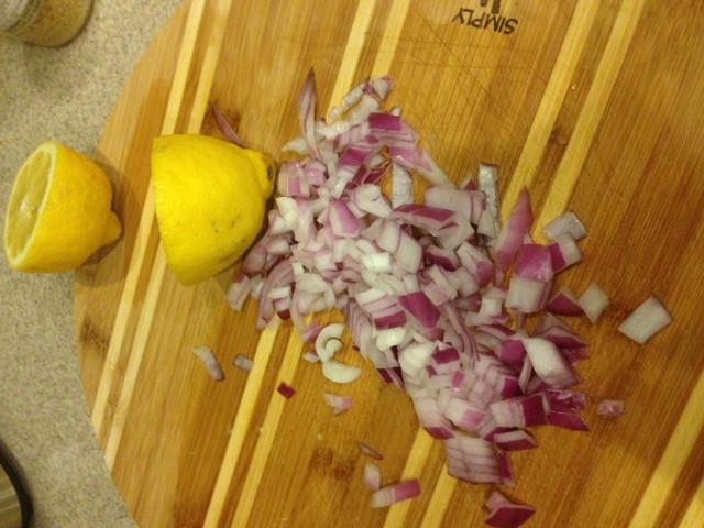 Chopped onion and lemons