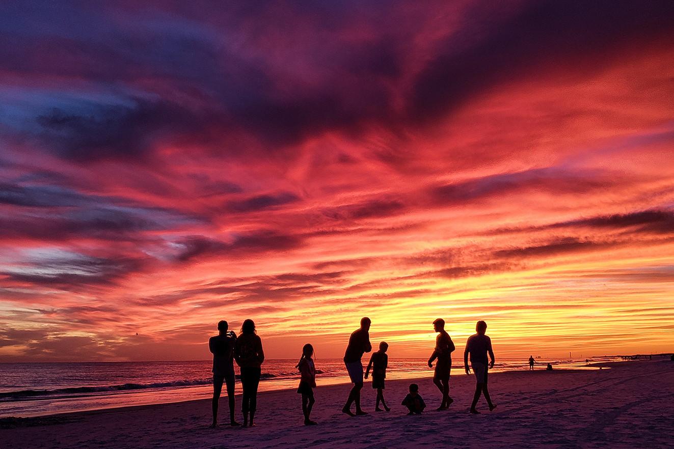 Large family on beach