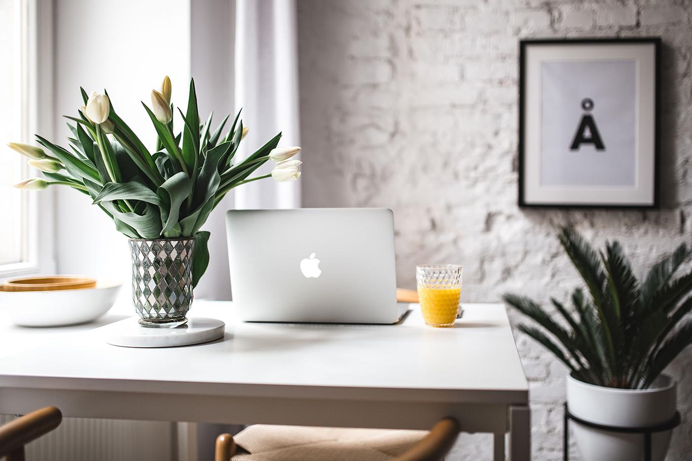 Desk in bright office