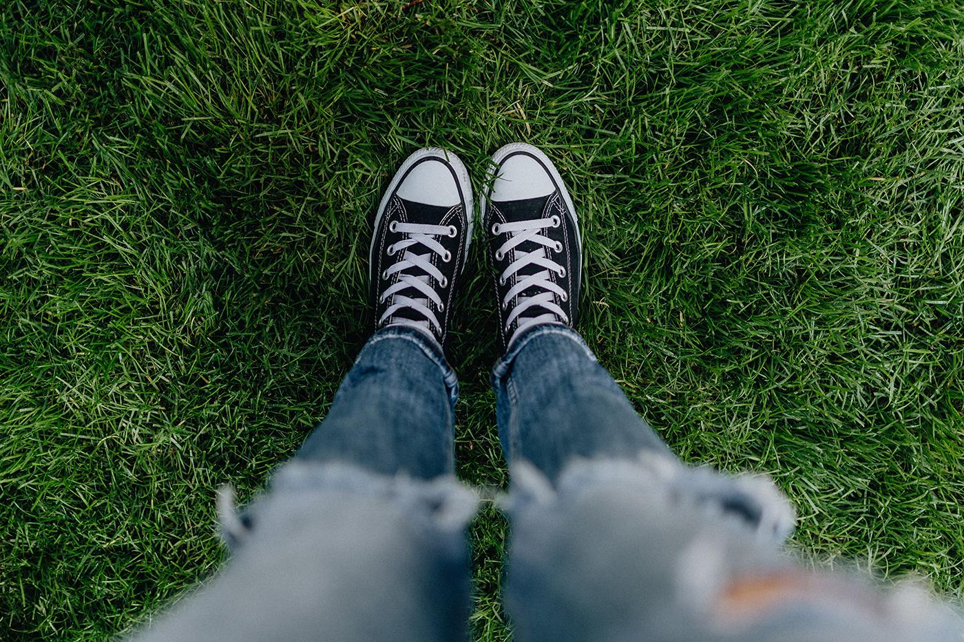 Standing on grass
