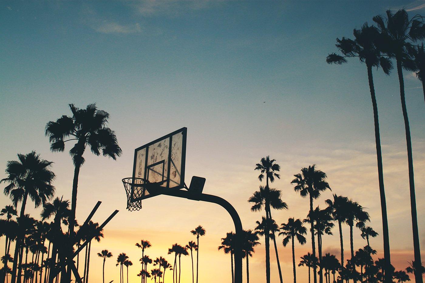 Basketball net at sunset